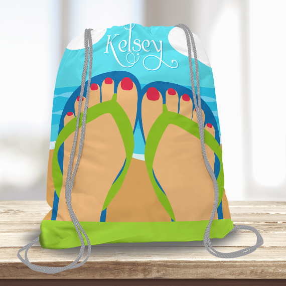 1a76715185af5a WW-KDT00016 Flip Flops Personalized Drawstring Bag Kids Sports Travel Tote  Bag by Personalize it