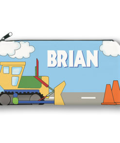 PK-PC00006 BULLDOZER CONSTRUCTION Kids Back to School Personalized Pencil Case Holder by Personalize it FREE