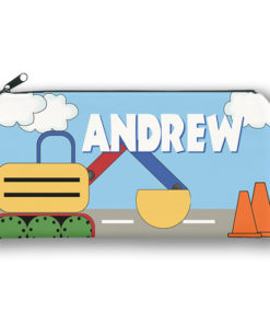 PK-PC00007 EXCAVATOR CRANE CONSTRUCTION Kids Back to School Personalized Pencil Case Holder by Personalize it FREE