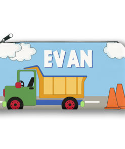 PK-PC00008 DUMP TRUCK CONSTRUCTION Kids Back to School Personalized Pencil Case Holder by Personalize it FREE
