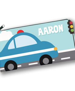 PK-PC00015 POLICE CAR TRANSPORTATION Kids Back to School Personalized Pencil Case Holder by Personalize it FREE