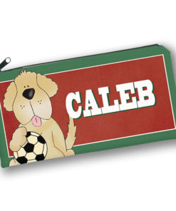 PK-PC00019 SOCCER SPORTS DOG Kids Back to School Personalized Pencil Case Holder by Personalize it FREE