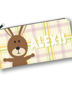 PK-PC00022 BUNNY RABBIT PATCHWORK PALS Kids Back to School Personalized Pencil Case Holder by Personalize it FREE