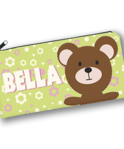 PK-PC00023 TEDDY BEAR PATCHWORK PALS Kids Back to School Personalized Pencil Case Holder by Personalize it FREE
