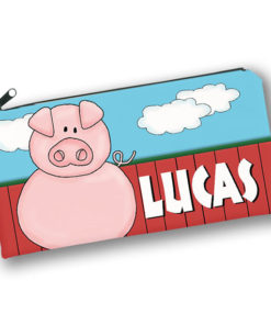 PK-PC00029 PIG BARNYARD FARM ANIMALS Kids Back to School Personalized Pencil Case Holder by Personalize it FREE