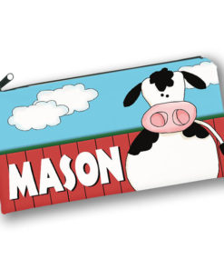 PK-PC00031 COW BARNYARD FARM ANIMALS Kids Back to School Personalized Pencil Case Holder by Personalize it FREE