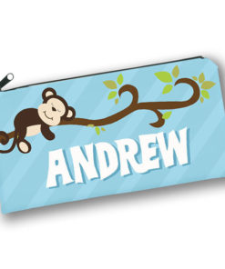 PK-PC00036 MONKEY BUSINESS Kids Back to School Personalized Pencil Case Holder by Personalize it FREE