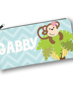 PK-PC00038 MONKEY BUSINESS GIRLS Kids Back to School Personalized Pencil Case Holder by Personalize it FREE