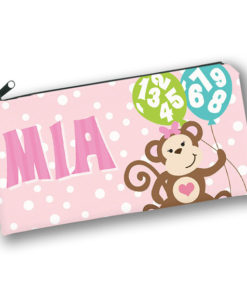PK-PC00039 MONKEY BUSINESS GIRLS Kids Back to School Personalized Pencil Case Holder by Personalize it FREE