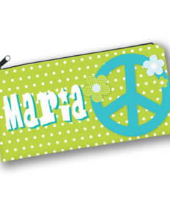 PK-PC00048 PEACE SIGN FLOWER POWER HIPPIE THEME Kids Back to School Personalized Pencil Case Holder by Personalize it FREE