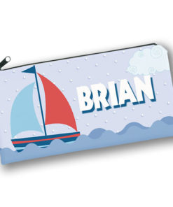 PK-PC00053 SAILBOAT NAUTICAL THEME Kids Back to School Personalized Pencil Case Holder by Personalize it FREE