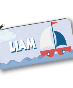 PK-PC00056 SAILBOAT NAUTICAL THEME Kids Back to School Personalized Pencil Case Holder by Personalize it FREE