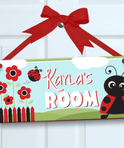 PK-SIG00001 LADYBUGS Personalized Kids Room Wall Door Sign by Personalize It FREE