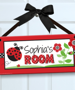 PK-SIG00003 LADYBUGS Personalized Kids Room Wall Door Sign by Personalize It FREE