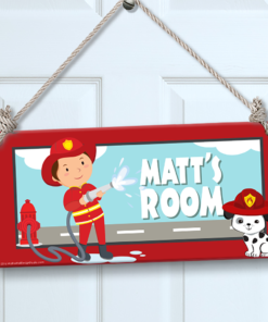 PK-SIG00005 FIREMAN Personalized Kids Room Wall Door Sign by Personalize It FREE