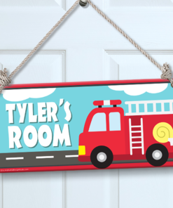 PK-SIG00006 FIRE TRUCK Personalized Kids Room Wall Door Sign by Personalize It FREE
