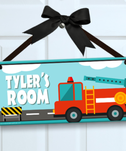 PK-SIG00007 FIRE TRUCK Personalized Kids Room Wall Door Sign by Personalize It FREE