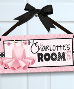 PK-SIG00010 BALLERINA Personalized Kids Room Wall Door Sign by Personalize It FREE
