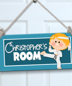 PK-SIG00013 KARATE BOY Personalized Kids Room Wall Door Sign by Personalize It FREE