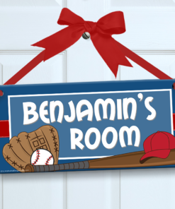 PK-SIG00015 BASEBALL STAR Personalized Kids Room Wall Door Sign by Personalize It FREE