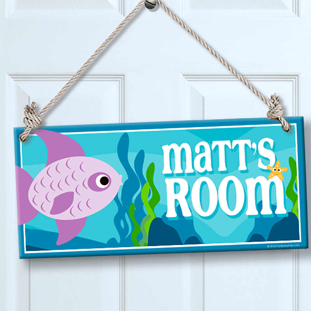 Under The Sea Fish Kids Room Nursery Personalized Wall Door Sign