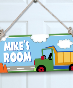 PK-SIG00021 CONSTRUCTION TRUCK Personalized Kids Room Wall Door Sign by Personalize It FREE