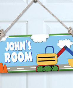 PK-SIG00022 CONSTRUCTION TRUCK Personalized Kids Room Wall Door Sign by Personalize It FREE