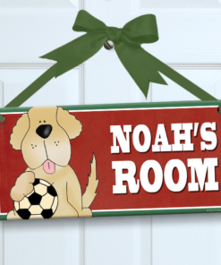 PK-SIG00036 SOCCER SPORTS DOG Personalized Kids Room Wall Door Sign by Personalize It FREE