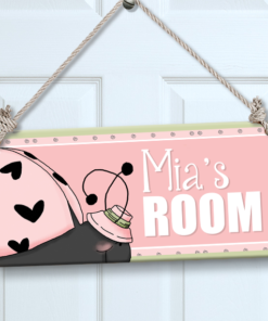 PK-SIG00041 PINK LADYBUG Personalized Kids Room Wall Door Sign by Personalize It FREE