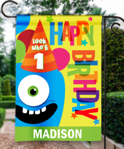 SGF-00043 LOOK WHO'S 1 FIRST BIRTHDAY Custom Personalized Birthday Banner Flag Decor by Personalize it FREE