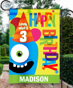 SGF-00043 LOOK WHO'S 3 THREE THIRD BIRTHDAY Custom Personalized Birthday Banner Flag Decor by Personalize it FREE