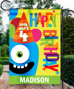 SGF-00043 LOOK WHO'S 4 FOUR FOURTH BIRTHDAY Custom Personalized Birthday Banner Flag Decor by Personalize it FREE