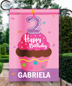 SGF-00050-KidsBirthday2A 2nd Second BIRTHDAY Custom Personalized Birthday Banner Flag Decor by Personalize it FREE