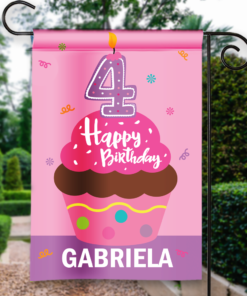 SGF-00050-KidsBirthday4A 4TH FOURTH BIRTHDAY Custom Personalized Birthday Banner Flag Decor by Personalize it FREE