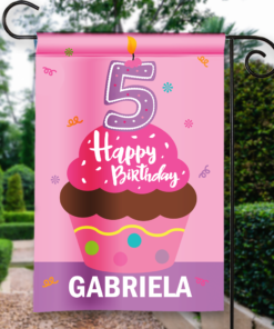 SGF-00050-KidsBirthday5A 5TH FIFTH BIRTHDAY Custom Personalized Birthday Banner Flag Decor by Personalize it FREE