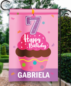 SGF-00050-KidsBirthday7A 7TH SEVENTH BIRTHDAY Custom Personalized Birthday Banner Flag Decor by Personalize it FREE