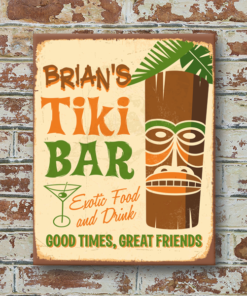 W2W-1114ALUM-00009 TIKI BAR Vintage Look Personalized Aluminum Metal Wall Bar Pub Sign for Game Room Man Cave by Personalize it FREE
