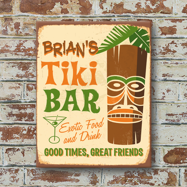 W2w 1114alum 00009 Tiki Bar Vintage Look Personalized Aluminum Metal Wall Pub Sign