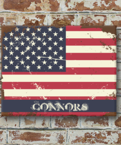 W2W-1114ALUM-00010 AMERICAN FLAG Vintage Look Personalized Aluminum Metal Wall Bar Pub Sign for Game Room Man Cave by Personalize it FREE