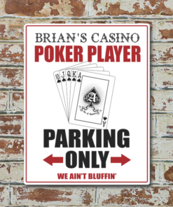 W2W-1114ALUM-00042 POKER PLAYER PARKING Vintage Look Personalized Aluminum Metal Wall Bar Pub Sign for Game Room Man Cave by Personalize it FREE