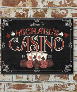 W2W-1114ALUM-00044 GAMBLING CASINO Vintage Look Personalized Aluminum Metal Wall Bar Pub Sign for Game Room Man Cave by Personalize it FREE