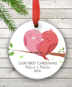 W2W-HO00001 LOVE BIRDS WEDDING COUPLES 1st Personalized Our First Christmas Ornament Porcelain Holiday by Personalize it FREE