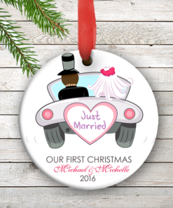 W2W-HO00002 JUST MARRIED WEDDING COUPLES 1st Personalized Our First Christmas Ornament Porcelain Holiday by Personalize it FREE