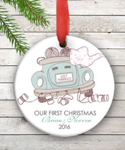 W2W-HO00003 JUST MARRIED WEDDING COUPLES 1st Personalized Our First Christmas Ornament Porcelain Holiday by Personalize it FREE
