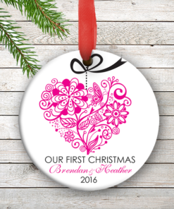 W2W-HO00005 PINK ONE HEART LOVE WEDDING COUPLES 1st Personalized Our First Christmas Ornament Porcelain Holiday by Personalize it FREE