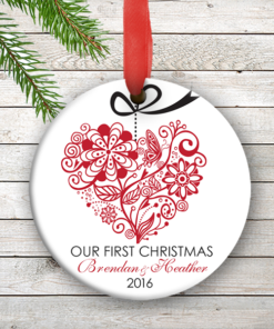 W2W-HO00005 RED ONE HEART LOVE WEDDING COUPLES 1st Personalized Our First Christmas Ornament Porcelain Holiday by Personalize it FREE