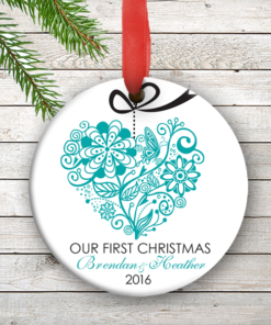 W2W-HO00005 BLUE ONE HEART LOVE WEDDING COUPLES 1st Personalized Our First Christmas Ornament Porcelain Holiday by Personalize it FREE