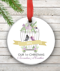 W2W-HO00006 LOVE BIRDS WEDDING COUPLES 1st Personalized Our First Christmas Ornament Porcelain Holiday by Personalize it FREE