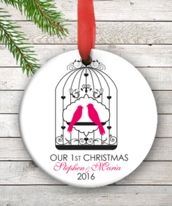 W2W-HO00007 PINK LOVE BIRDS WEDDING COUPLES 1st Personalized Our First Christmas Ornament Porcelain Holiday by Personalize it FREE