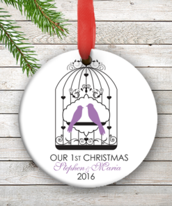 W2W-HO00007 PURPLE LOVE BIRDS WEDDING COUPLES 1st Personalized Our First Christmas Ornament Porcelain Holiday by Personalize it FREE